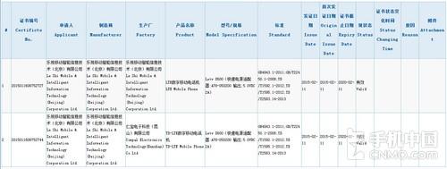 乐视超级手机通过3C认证