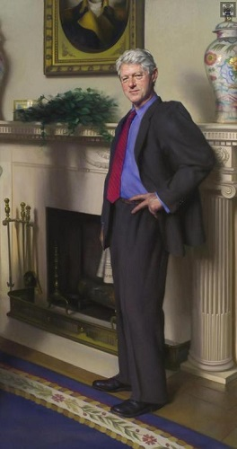 """克林顿肖像藏""""密码""""画家:莱温斯基也在画中"""