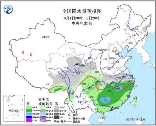 南方迎来大范围雨雪天气江汉江淮局地大雪(图)