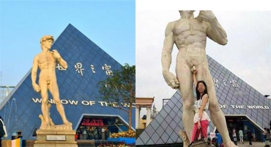 长沙世界之窗大卫雕像遭女游客咸猪手