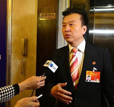 全国人大代表、中央电视台节目主持人张泽群接受记者采访