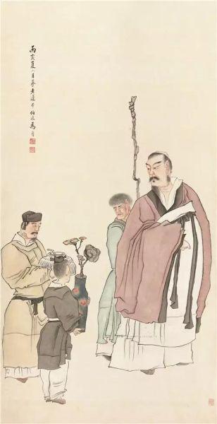 马晋(1900-1970) 仿陈老莲献寿图