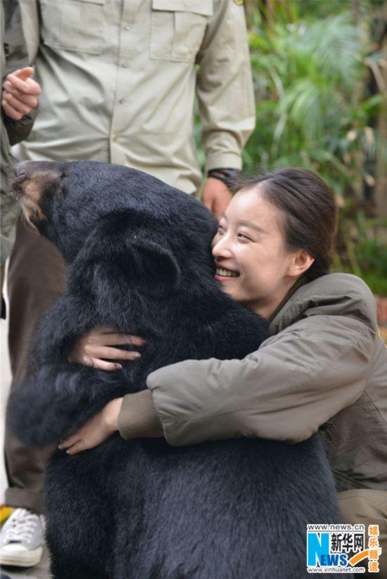 倪妮熊抱大黑熊 李宇春戴卡通帽和熊猫宝宝比萌