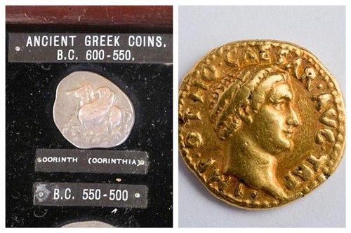 希腊银币(左)与印有凯撒头像的罗马金币(右)。