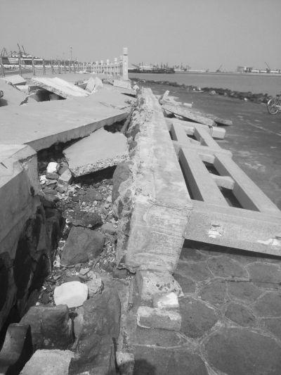 海口湾部分旅游设施破损 市民称存安全隐患