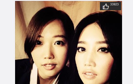 A-Lin晒妹妹探班照网友:跟模子刻的一样(图)