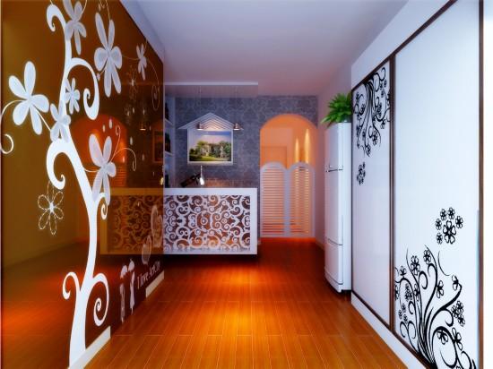 客厅吊顶及电视背景墙简单几何造型,墙面局部的壁纸,沙发等软装配饰用