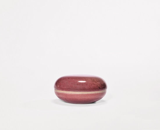 清康熙 豇豆红釉印盒