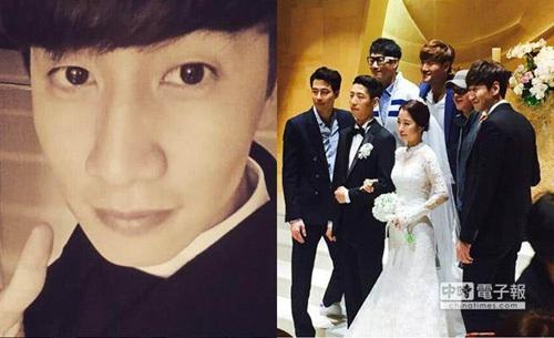 李光洙邀众星参加妹妹婚礼帅气演员站新郎身旁(图)
