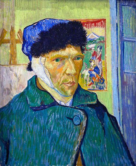 """""""梵高的眼睛像蓝水晶一样,眼神很尖锐,仿佛能看穿一切。他既不""""理智"""",也没有""""精神失常"""",他只是向我们诉说勇气和诚实的平常人。《割掉耳朵后的自画像》(Self-portrait with Bandaged Ear),文森特・梵高(Vincent van Gogh),1889"""