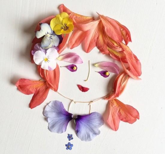 美艺术家心灵手巧用花瓣树叶创作精美拼贴画