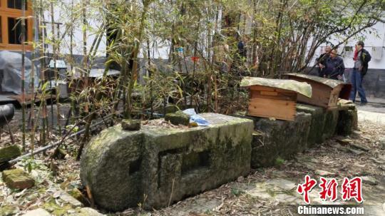 湖南炎陵农家发现清代精美石刻有双龙戏珠图(图)