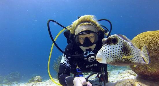 美国一潜水员巧用自拍杆与海底生物合影(组图)