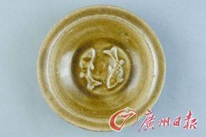 元耀州窑青褐釉双鱼纹洗