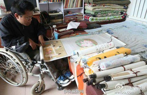 河北深泽26岁脑瘫青年卖画救治患病父亲(图)