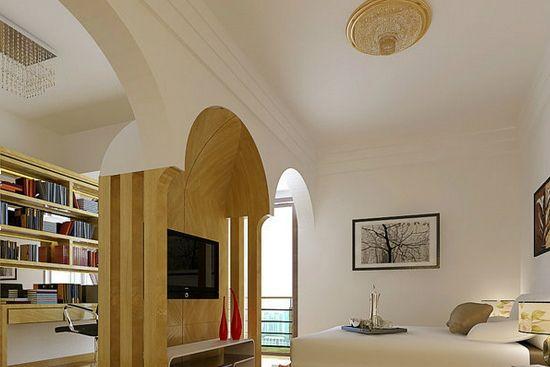 家居       卧室客厅隔断装修效果图6     主人房由两间相邻的房间