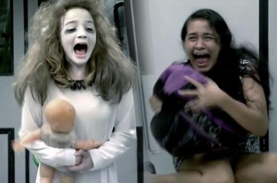"""惊悚!巴西地铁上演""""女鬼""""整蛊吓坏乘客"""