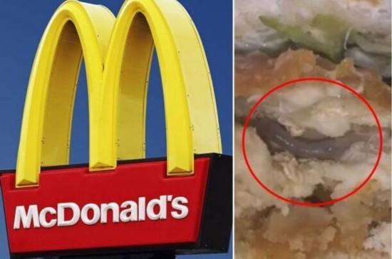 美国麦当劳鸡肉三明治中惊现蚯蚓吓坏顾客
