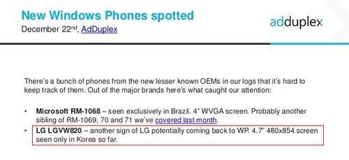 配4.7英寸屏幕/WP系统 LG低端新机曝光