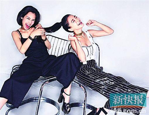 Angelababy和水原希子拍写真穿姐妹装秀美腿(图)