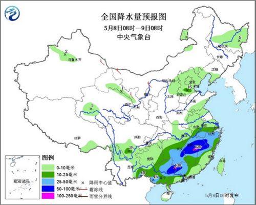 江南华南有强对流天气西藏震区有阵性雪(雨)天气