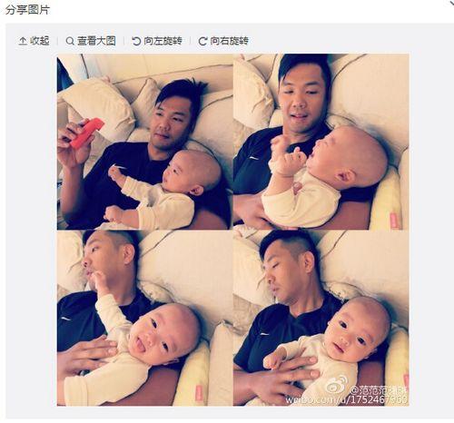 范玮琪老公带孩子表情略显疲惫宝宝开心吐舌(图)