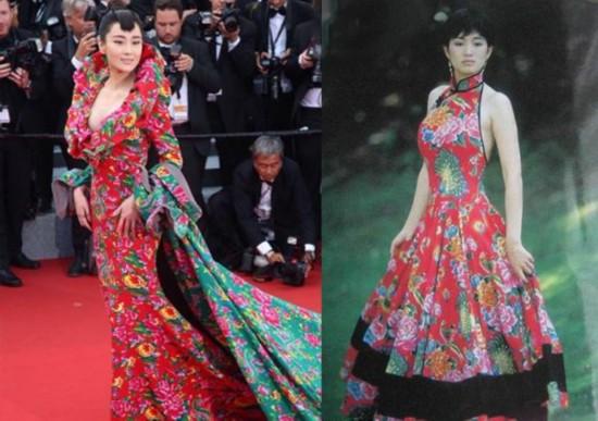 张馨予红绿花布裙穿越撞衫巩俐 被指像床单