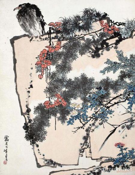 潘天寿《鹰石山花图》