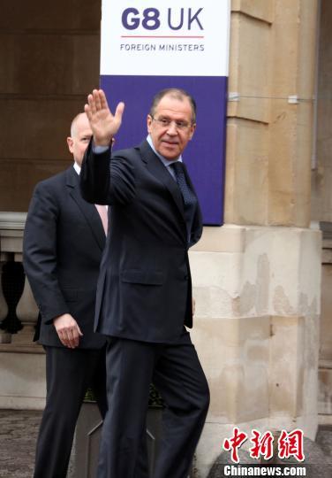 资料图:4月11日,八国集团外长会议在伦敦举行,俄罗斯外交部长拉夫罗夫出席会议。