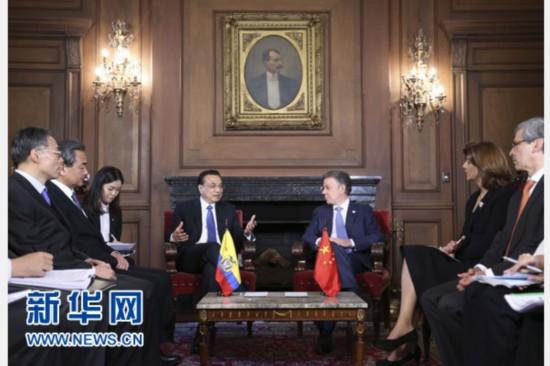 当地时间5月21日下午,中国国务院总理李克强在波哥大总统府同哥伦比亚总统桑托斯举行会谈。 新华社记者丁林摄