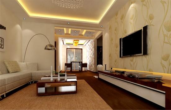 客廳吊頂局部裝飾中式花格,胡桃木色地板,穩重大氣,局部點綴壁紙凸顯