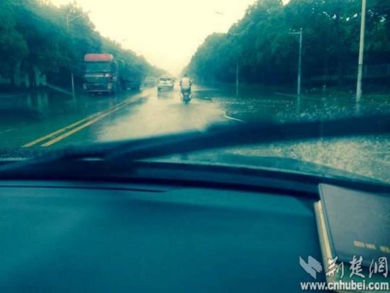 监利县城道路积水严重。