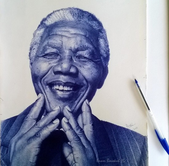 加纳艺术家用圆珠笔画肖像 惟妙惟肖(组图)