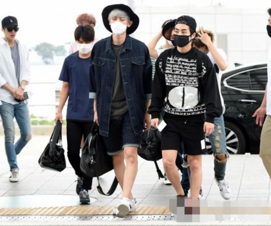 exo全员现身机场赴台湾准备演唱会lay蓝衣抢镜 戴口罩
