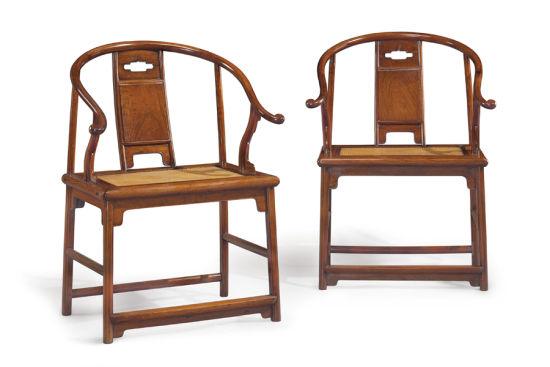 明 十七世纪 黄花梨圈椅一套四张