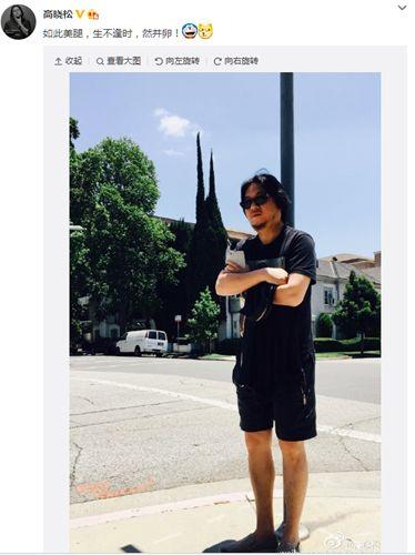 高晓松穿短裤站太阳下留言:如此美腿,生不逢时
