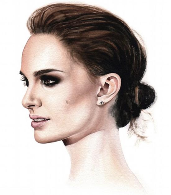 意画家绘好莱坞女星完美侧面水彩肖像画