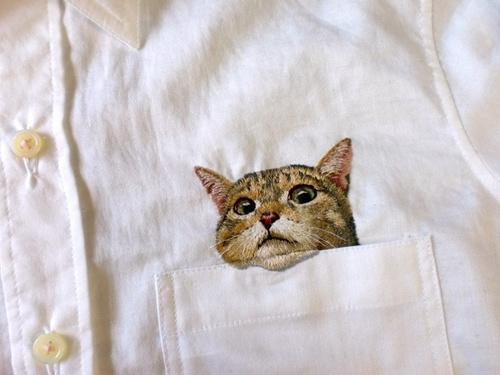 """""""口袋猫"""":日本主妇手工刺绣逼真如照片"""