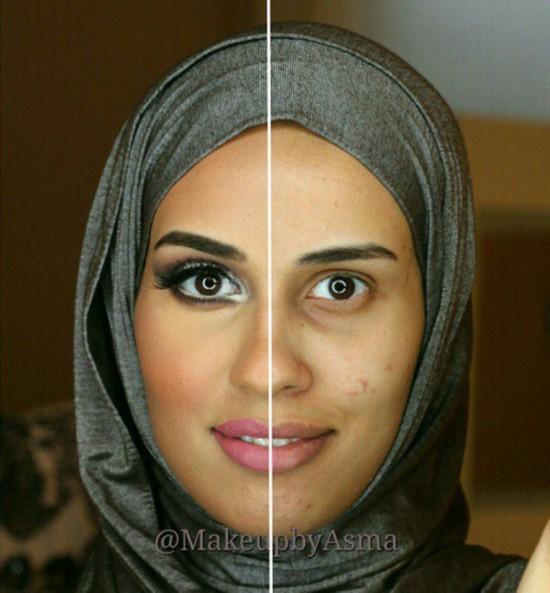 众女性晒半脸化妆照回击耻笑化妆者