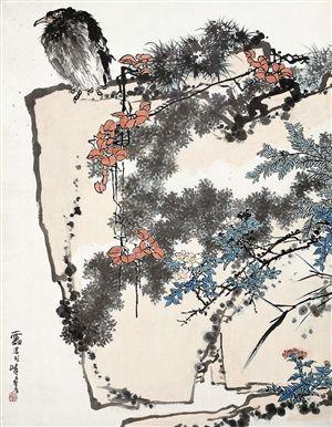 潘天寿巨制《鹰石山花图》在中国嘉德2015春季拍卖会上以2.79亿元成交。(嘉德供图)