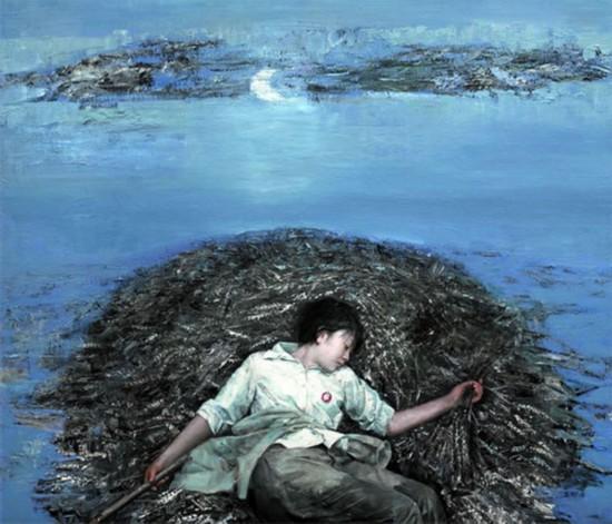 王亚卿知青题材油画《水中月》