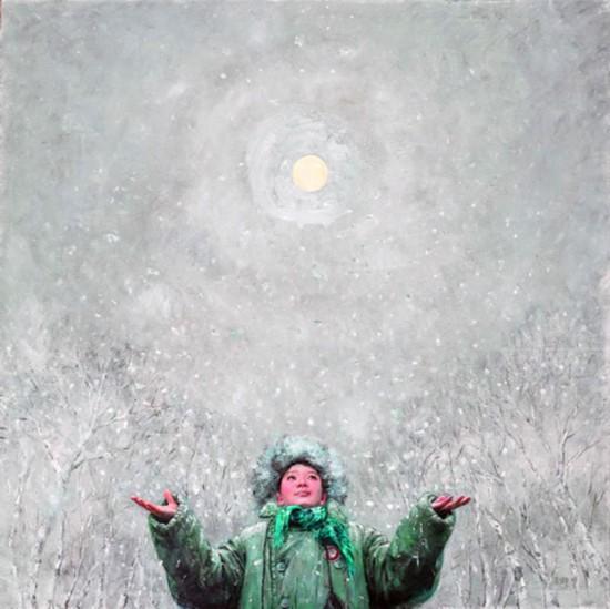 王亚卿知青题材油画《太阳雪》