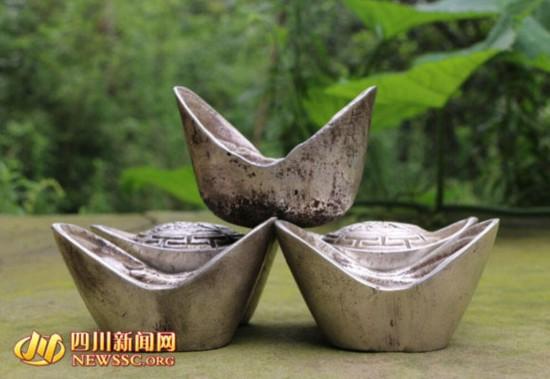 """四川老汉家藏祖传""""大清银锭"""" 6个重16.8斤"""