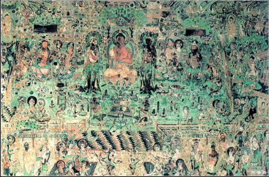 47、甘肃敦煌莫高窟 莫高窟俗称千佛洞,坐落在河西走廊西端的敦煌。它始建于十六国的前秦时期,历经十六国、北朝、隋、唐、五代、西夏、元等历代的兴建,形成巨大的规模,有洞窟735个,壁画4.5万平方米、泥质彩塑2415尊,是世界上现存规模最大、内容最丰富的佛教艺术地。1987年,莫高窟被列为世界文化遗产。