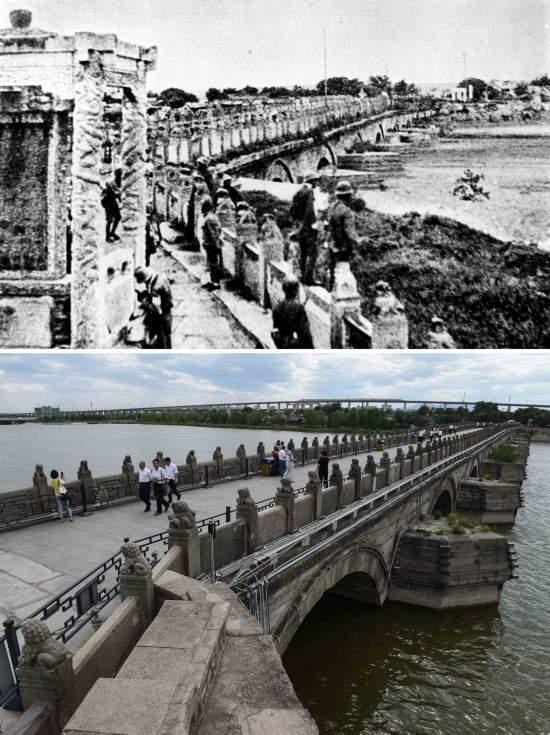 上图为日本侵略军占领下的卢沟桥(资料照片);下图为游客在卢沟桥