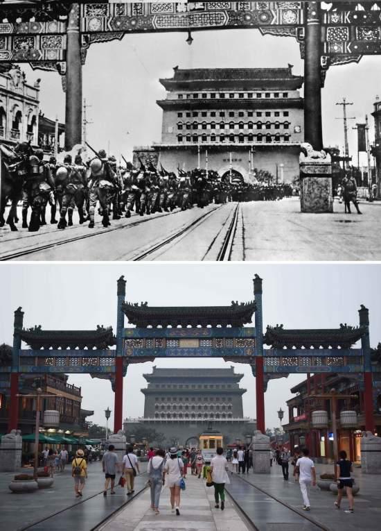 年7月29日,日本侵略军占领北平,通过前门大街(资料照片);下