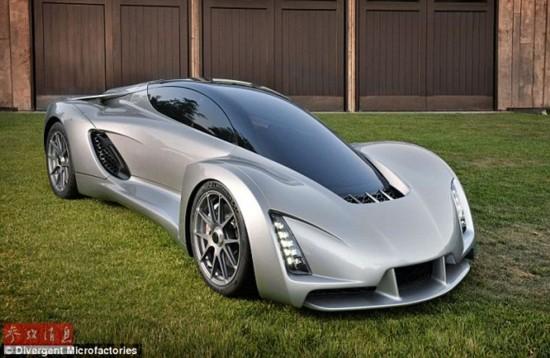 世界首台3D打印超跑:百公里加速仅两秒