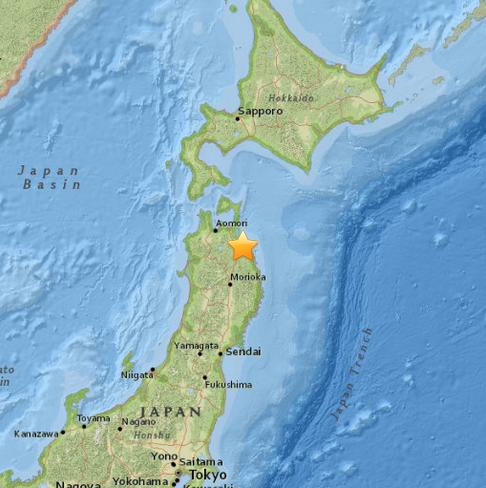 日本八户市南部5.6级地震 震源深度79.4公里