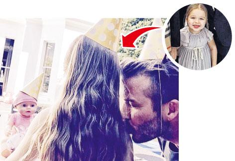 贝克汉姆为女儿庆祝4岁生日晒亲吻照(图)
