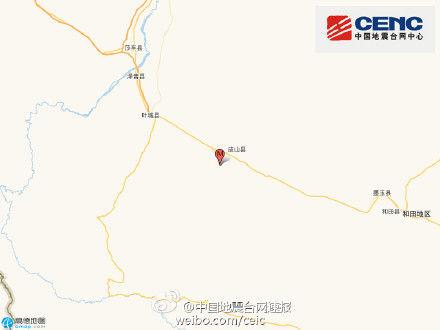 新疆皮山县发生3.3级地震 震源深度10千米